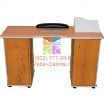 Стол для маникюра деревянный, двухтумбовый с пылесосом СА