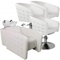 """Парикмахерский комплект """"Гламрок"""", Белый, Золотые пукли, 3 кресла гидравлика диск, 1 мойка средняя белая раковина"""